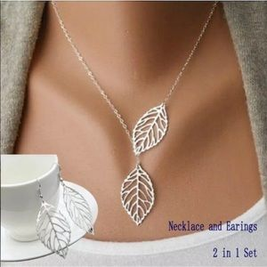 Jewelry - Silver leaf necklace and earrings